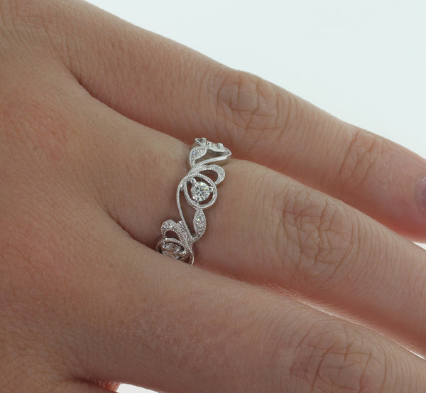 18ct White Gold .42ct Diamond Filigree Band - Walker & Hall