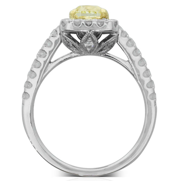 18ct White Gold 1.01ct Yellow Diamond Halo Ring - Walker & Hall