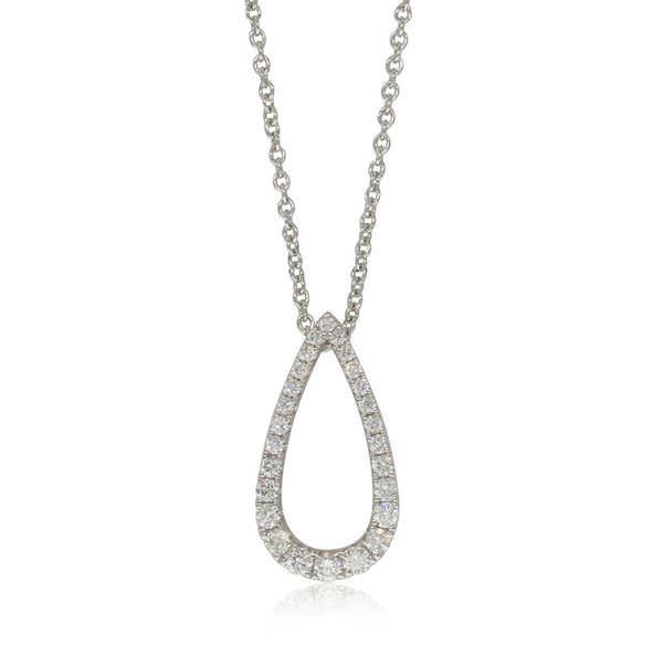 18ct White Gold .32ct Diamond Drop Pendant - Walker & Hall