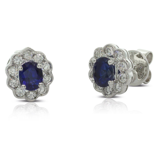 18ct White Gold Sapphire & Diamond Stud Earrings - Walker & Hall