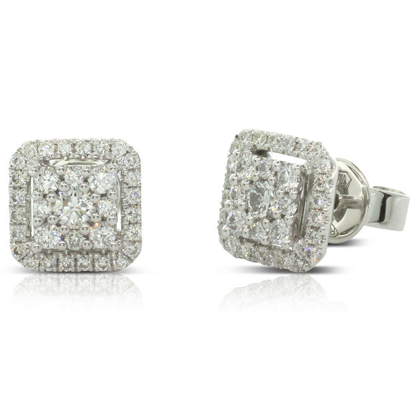 18ct White Gold .61ct Diamond Stud Earrings - Walker & Hall