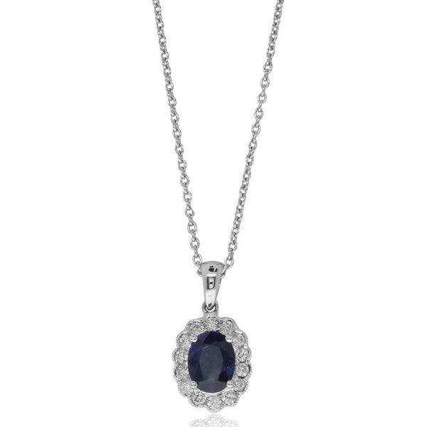 18ct White Gold Sapphire & Diamond Cluster Pendant - Walker & Hall