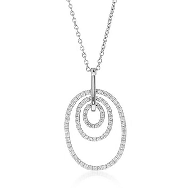 18ct White Gold .39ct Diamond Pendant - Walker & Hall