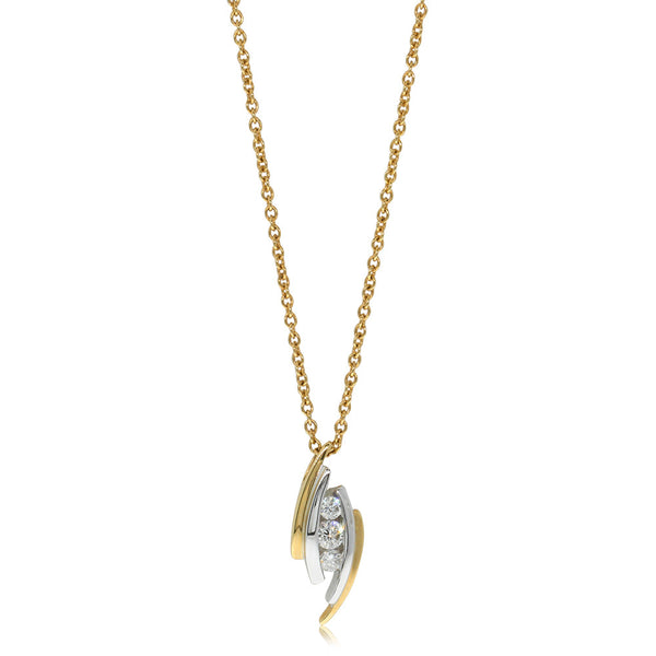 18ct White And Yellow Gold Diamond Arch Pendant - Walker & Hall