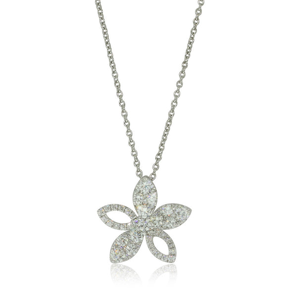 18ct White Gold .87ct Diamond Flower Pendant - Walker & Hall