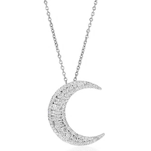 18ct White Gold .62ct Diamond Moon Pendant - Walker & Hall