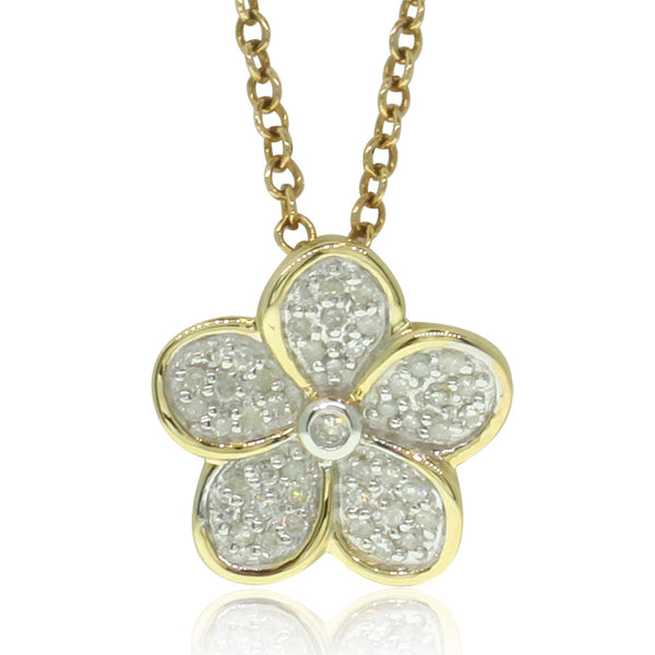 9ct Yellow Gold Flower Pendant - Walker & Hall