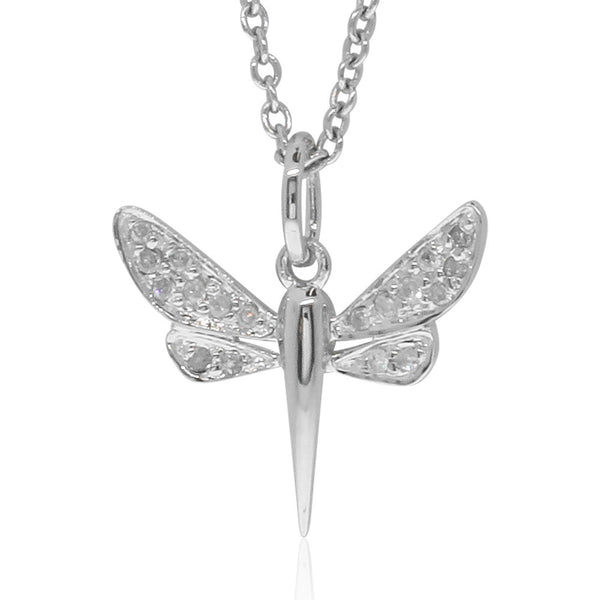 9ct White Gold Dragonfly Pendant - Walker & Hall