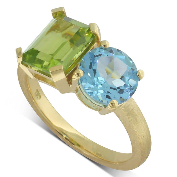 18ct Yellow Gold Peridot & Blue Topaz Ring - Walker & Hall