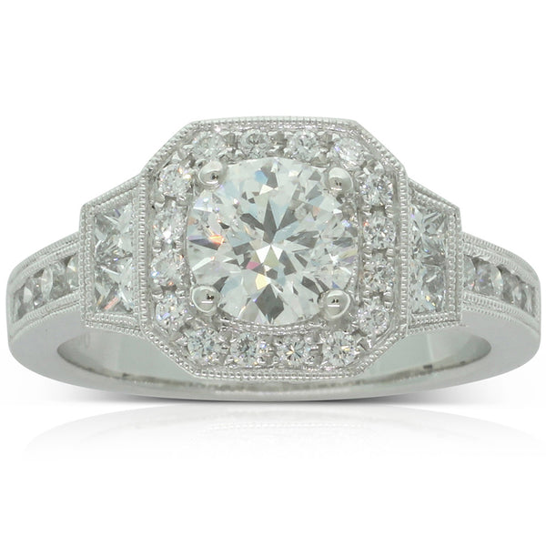 Platinum Diamond Halo Ring - Walker & Hall