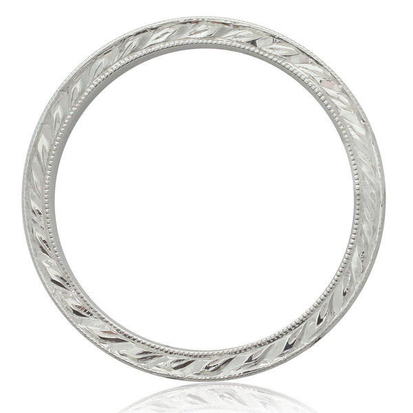 18ct White Gold Engraved Band - Walker & Hall