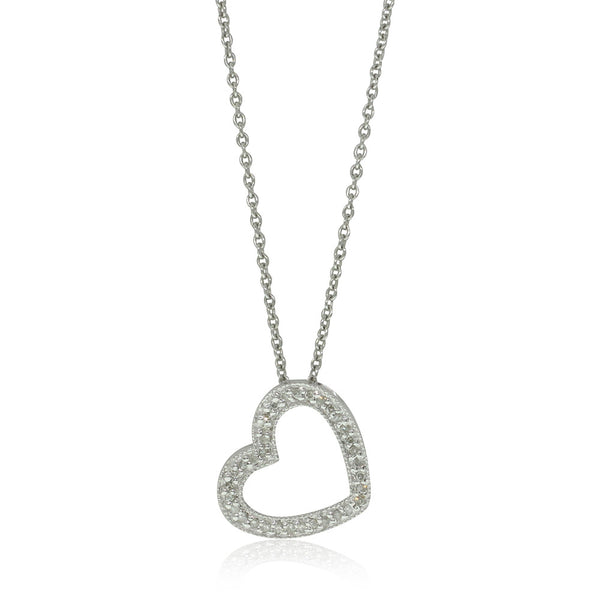 9ct White Gold Diamond Heart Pendant - Walker & Hall