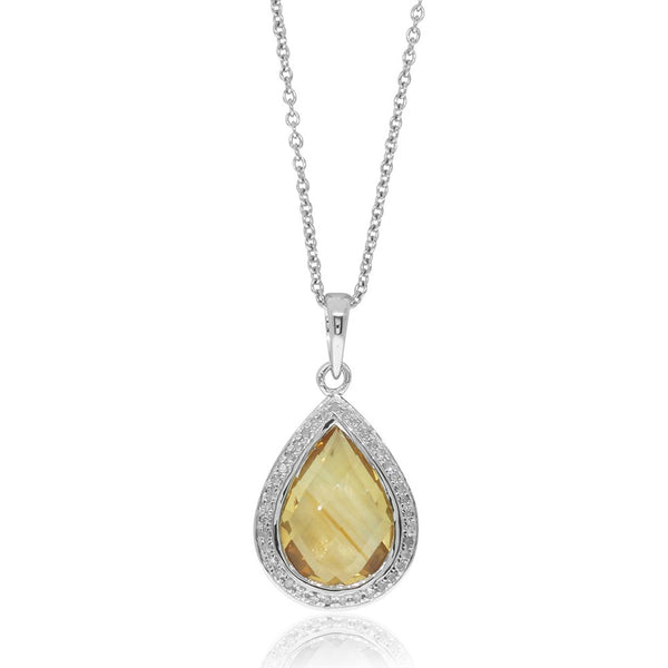 9ct White Gold Citrine & Diamond Pendant - Walker & Hall