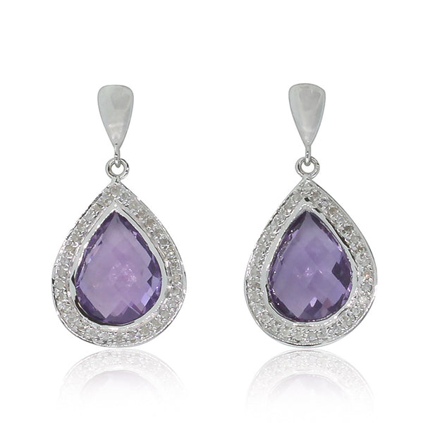 9ct White Gold Amethyst & Diamond Drop Earrings