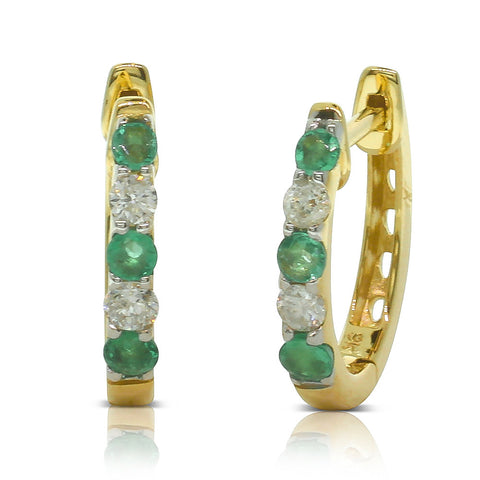 9ct Yellow Gold Emerald & Diamond Hoop Earrings - Walker & Hall