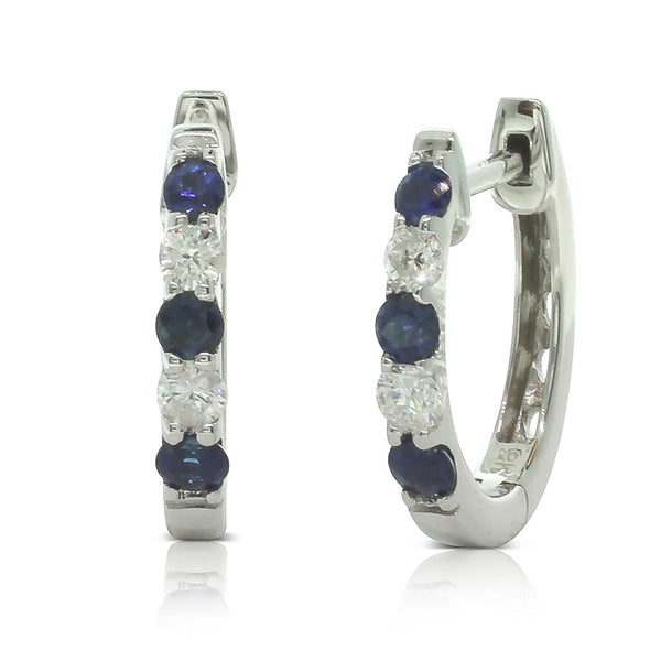 9ct White Gold Sapphire & Diamond Huggie Earrings - Walker & Hall