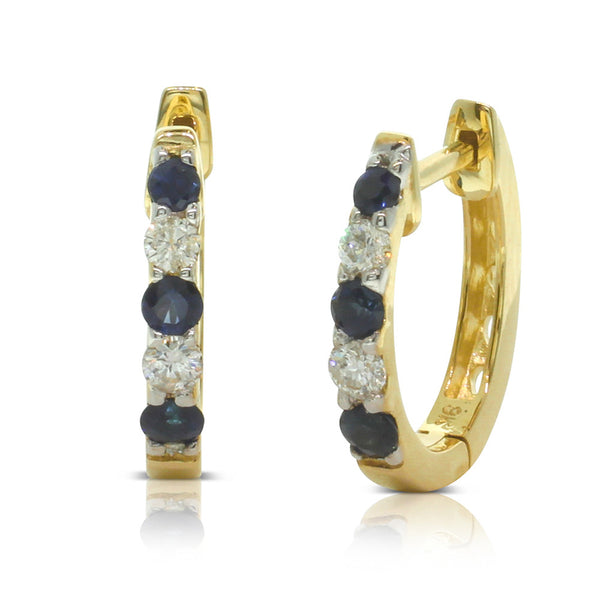 9ct Yellow Gold Sapphire & Diamond Hoop Earrings - Walker & Hall