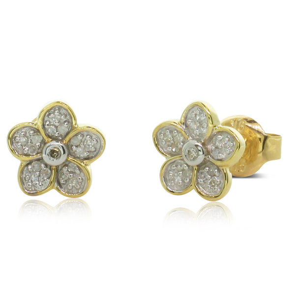 9ct Yellow Gold .10ct Diamond Flower Studs - Walker & Hall