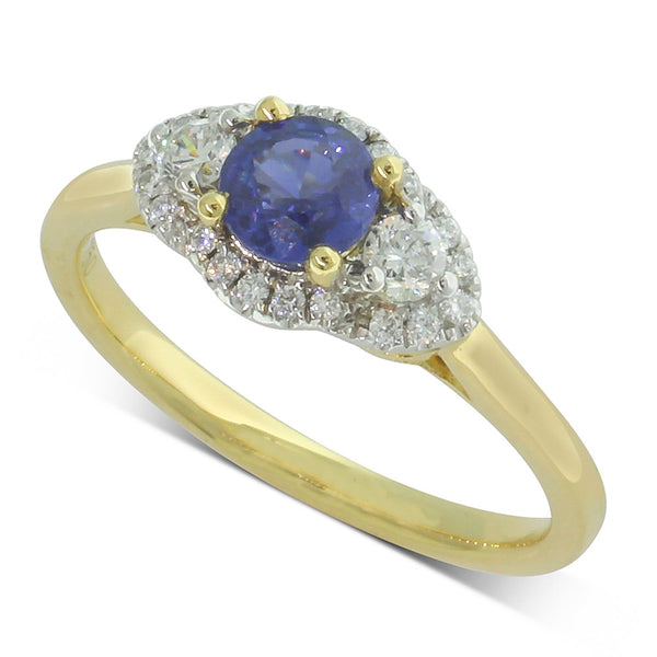 18ct Yellow Gold Sapphire & Diamond Trilogy Ring - Walker & Hall