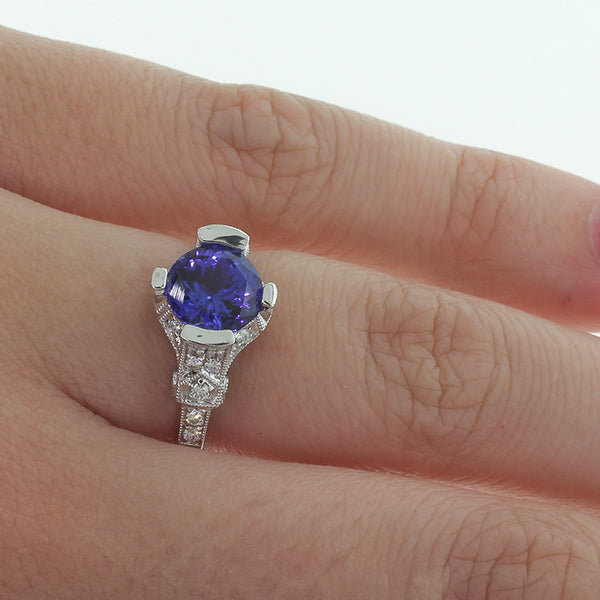 18ct White Gold Tanzanite & Diamond Ring - Walker & Hall