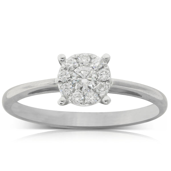 9ct White Gold .24ct Diamond Coronet Ring - Walker & Hall