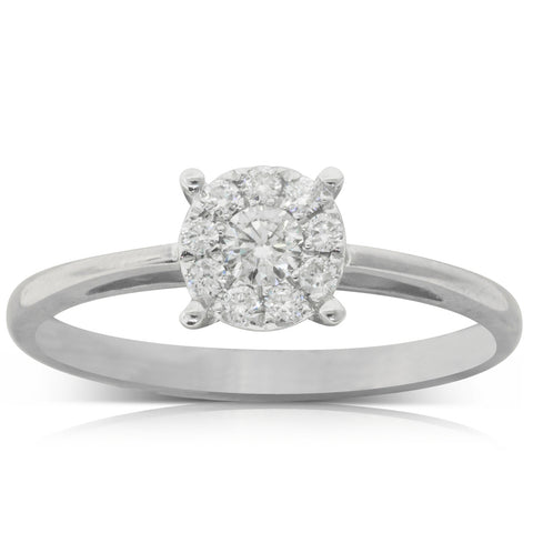 9ct White Gold .20ct Diamond Coronet Ring - Walker & Hall