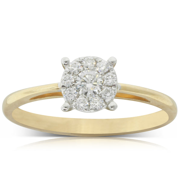 9ct Yellow Gold .24ct Diamond Coronet Ring - Walker & Hall