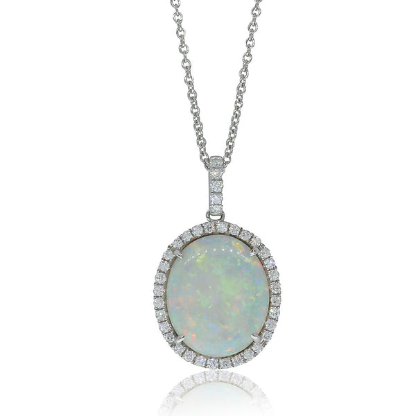 18ct White Gold Opal & Diamond Halo Pendant - Walker & Hall