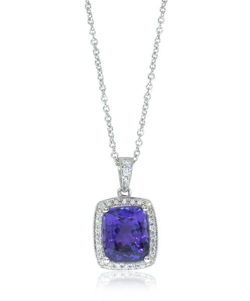 18ct White Gold Tanzanite & Diamond Halo Pendant - Walker & Hall