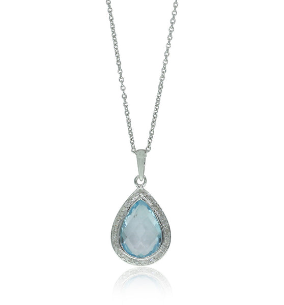 9ct White Gold Blue Topaz & Diamond Pendant - Walker & Hall