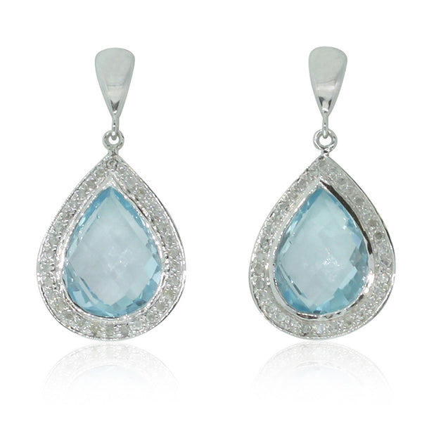 9ct White Gold Blue Topaz & Diamond Earrings - Walker & Hall