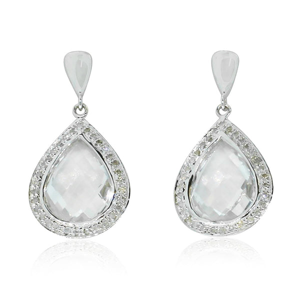 9ct White Gold White Topaz & Diamond Earrings - Walker & Hall