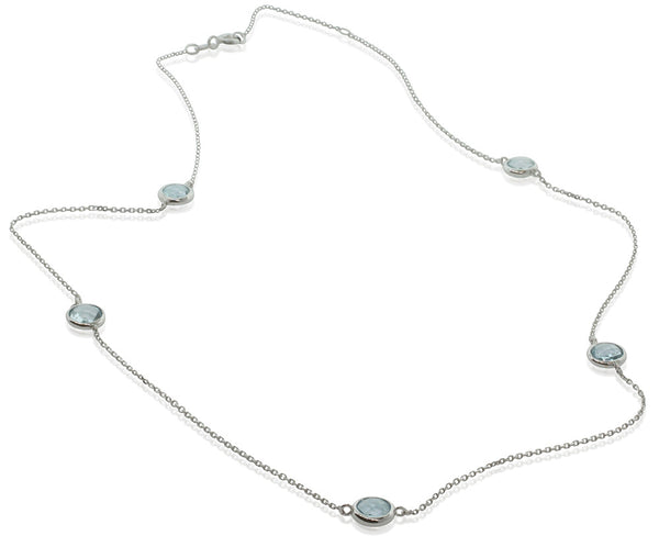9ct White Gold Blue Topaz Necklace - Walker & Hall