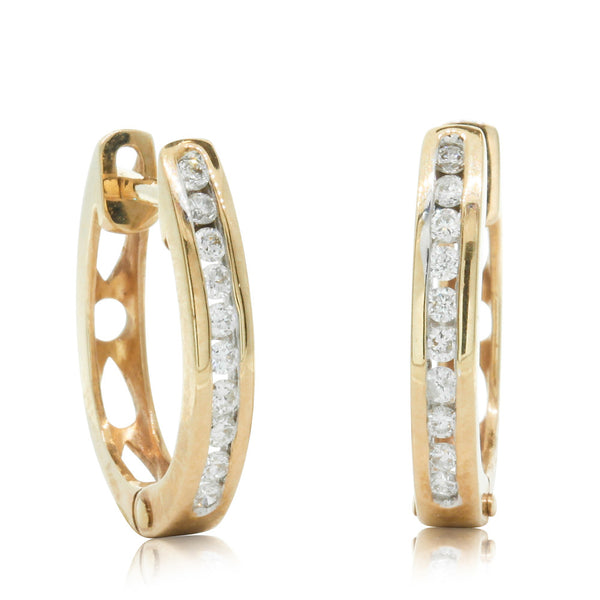 9ct Yellow Gold .17ct Diamond Hoop Earrings
