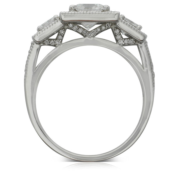 18ct White Gold 2.15ct Princess Cut Diamond Trilogy Ring - Walker & Hall