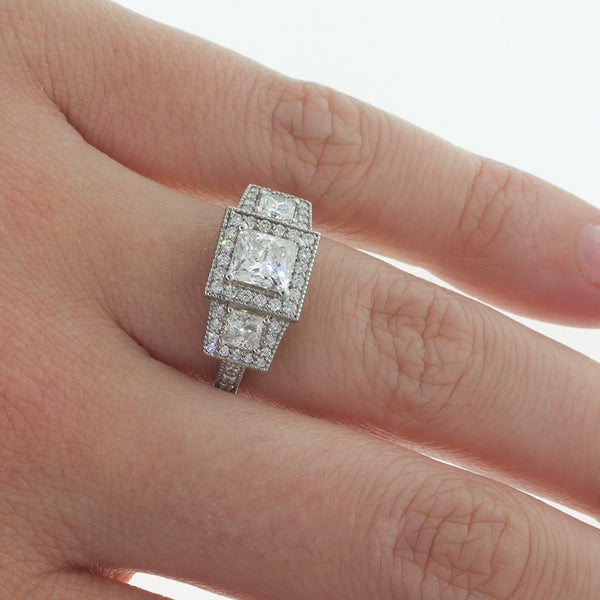 18ct White Gold Princess Cut Diamond Trilogy Ring - Walker & Hall