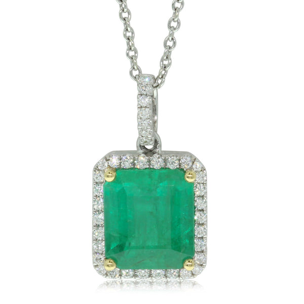 18ct White And 18ct Yellow Gold Emerald And Diamond Pendant - Walker & Hall