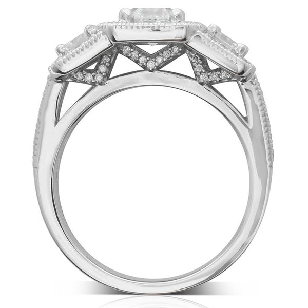 18ct White Gold .70ct Diamond Trilogy Ring - Walker & Hall