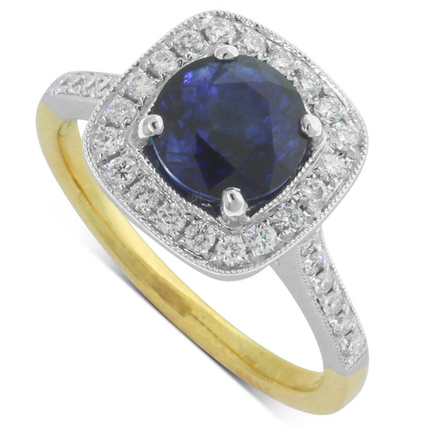 18ct Yellow & White Gold Sapphire & Diamond Halo Ring - Walker & Hall