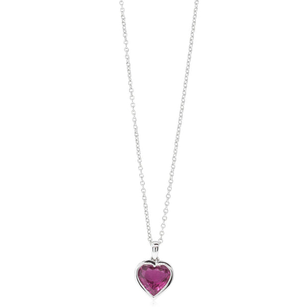 18ct White Gold 1.44ct Pink Tourmaline Pendant - Walker & Hall