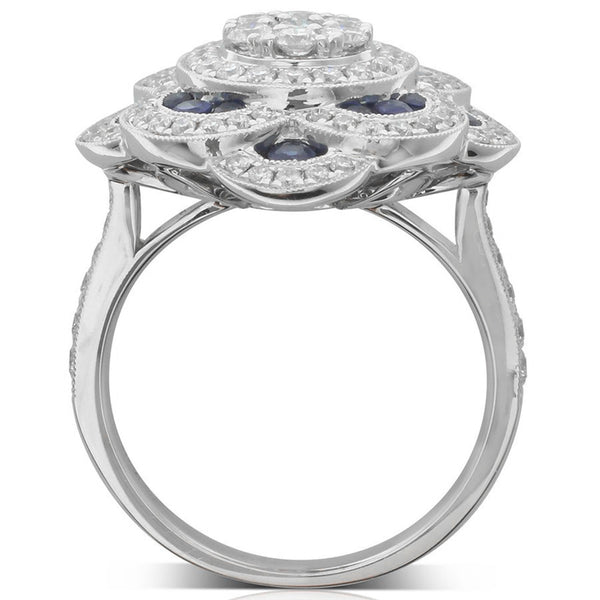 18ct White Gold Sapphire & Diamond Cluster Ring - Walker & Hall