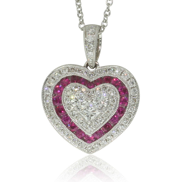 18ct White Gold Ruby & Diamond Heart Pendant - Walker & Hall