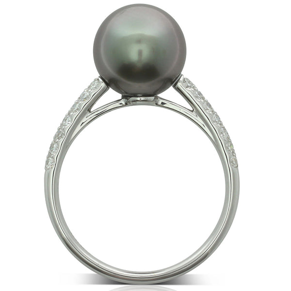 18ct White Gold Tahitian Pearl Ring - Walker & Hall