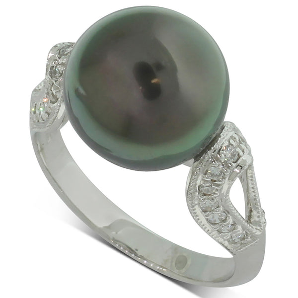 18ct White Gold Tahitian Black Pearl And Diamond Ring - Walker & Hall