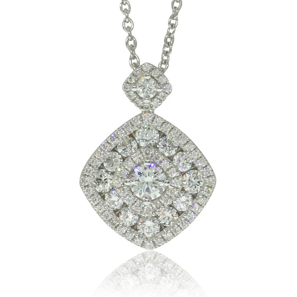 18ct White Gold .82ct Diamond Cluster Pendant - Walker & Hall