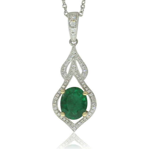 18ct White & 18ct Yellow Gold Emerald & Diamond Pendant - Walker & Hall