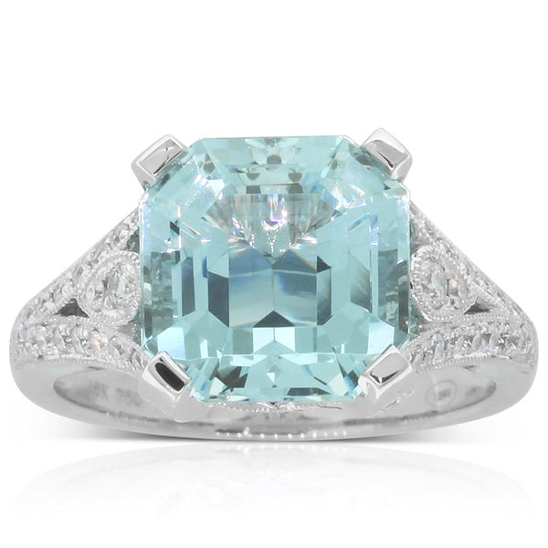 18ct White Gold Aquamarine & Diamond Dress Ring - Walker & Hall