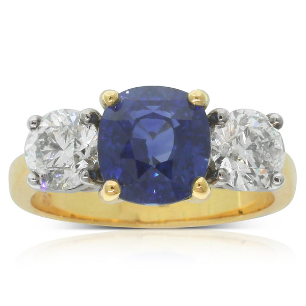 18ct White & Yellow Gold Sapphire And Diamond Trilogy Ring - Walker & Hall