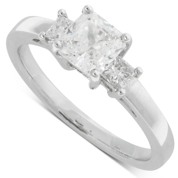 18ct White Gold 1.01ct Diamond Trilogy Ring - Walker & Hall