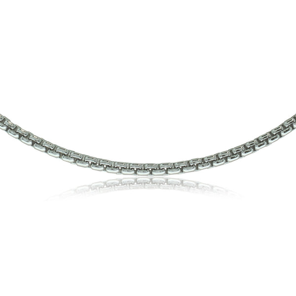9ct White Gold Round Box Chain - Walker & Hall